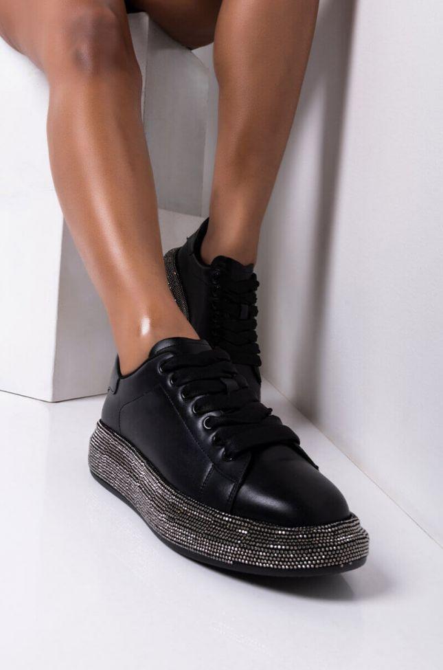 Front View Aint Gonna Run Away Flatform Sneaker in Black