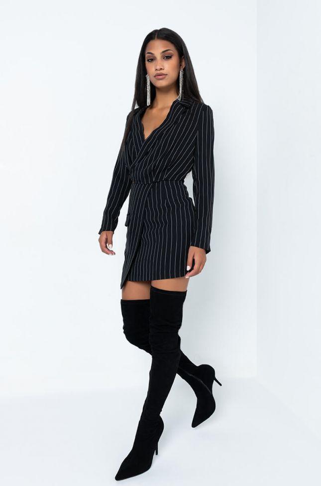 Full View Aint So Bad Pinstripe Mini Skirt in Black