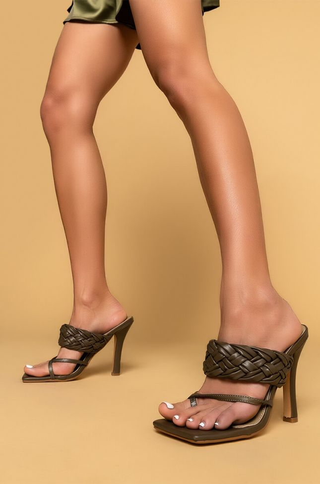 Front View Aint Worried About Nada Stiletto Sandal in Khaki