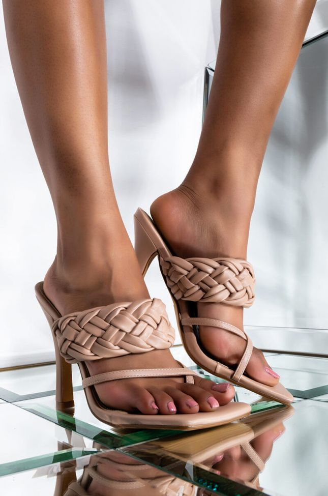 Front View Aint Worried About Nada Stiletto Sandal in Nude