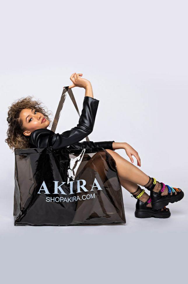 Side View Akira Pvc Xxl Shopping Bag in Black Clear