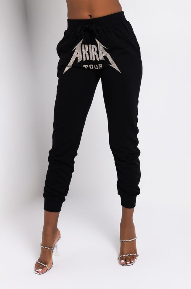 Front View Akira Tour Front Crotch Rhinestone Jogger in Black Silver