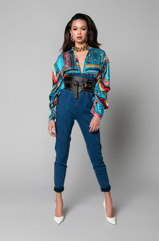 Side View Alena Satin And Denim Jumpsuit in Blue Multi