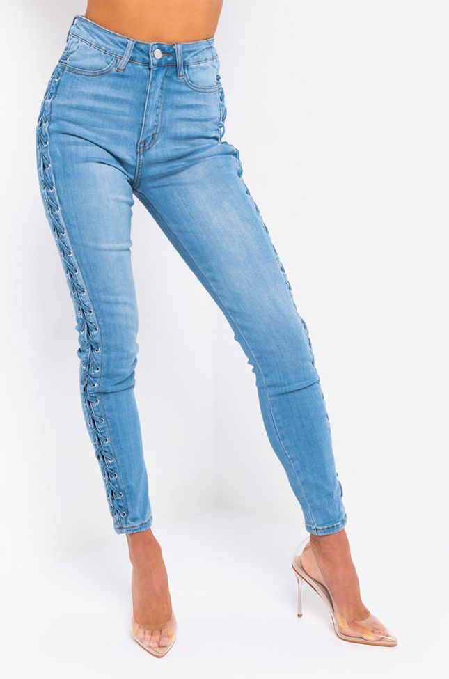 Front View Alexa Braid Skinny Jeans in Medium Blue Denim
