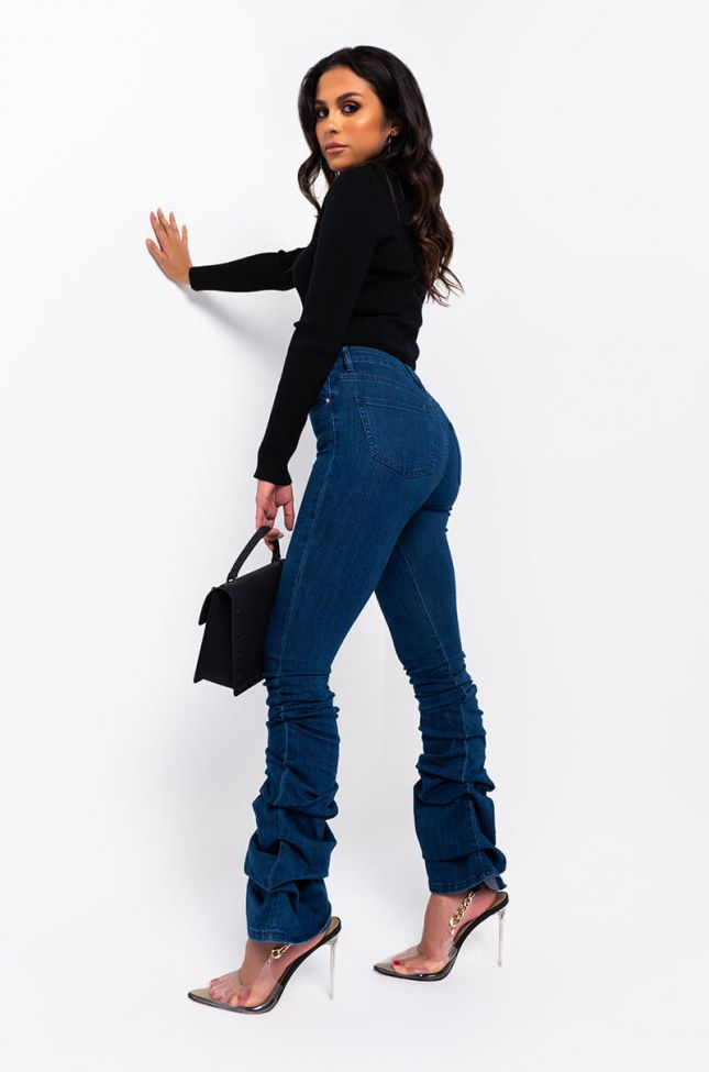 Full View Alicia High Rise Stacked Jeans in Dark Blue