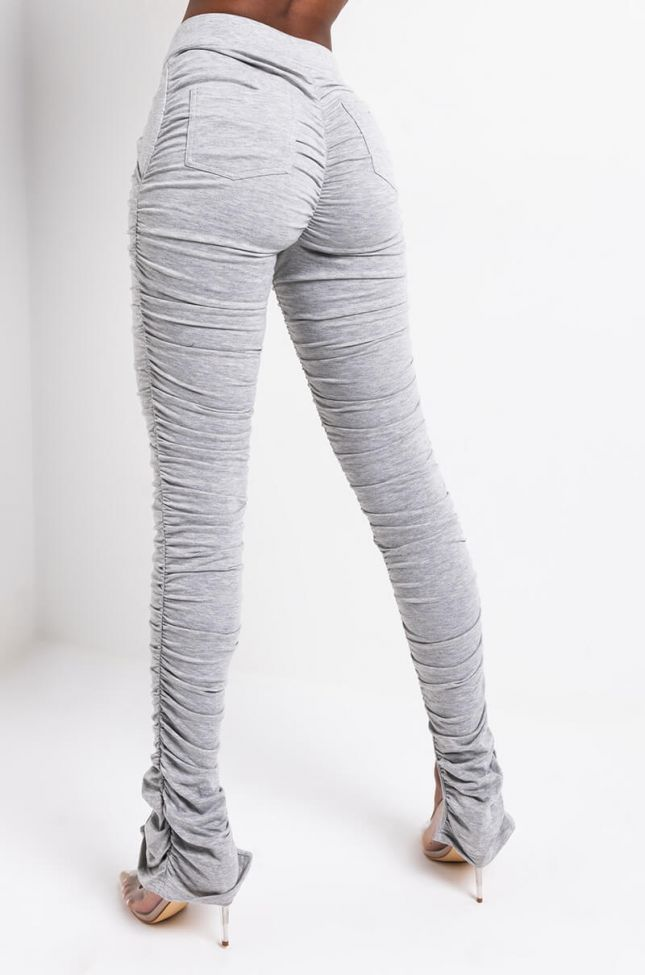 Back View Alicia Stacked Fashion Pants With Ankle Slits in Heather Grey
