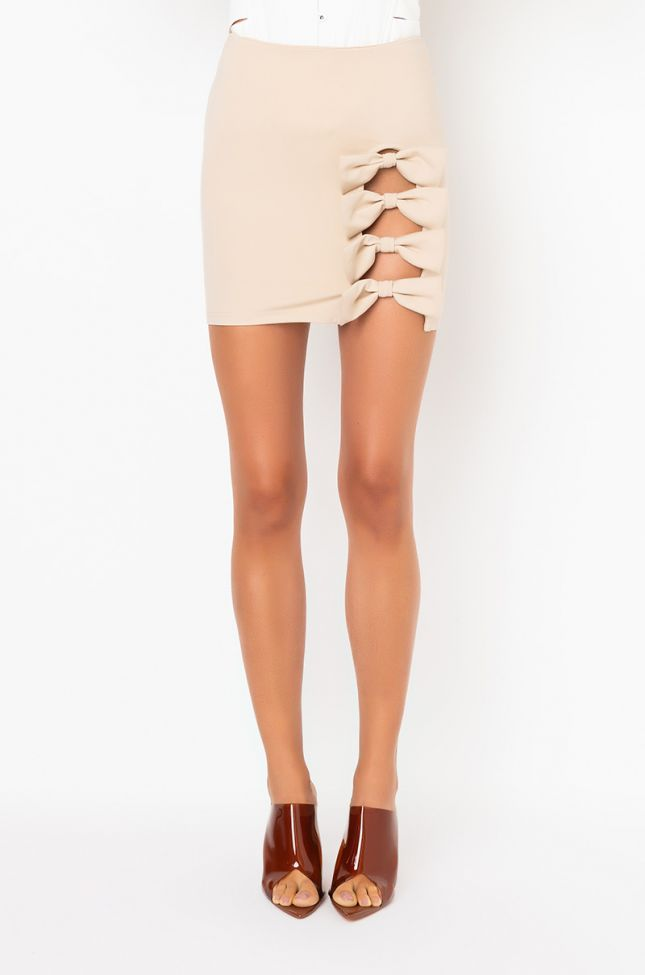 Front View All About Bows Mini Skirt in Beige