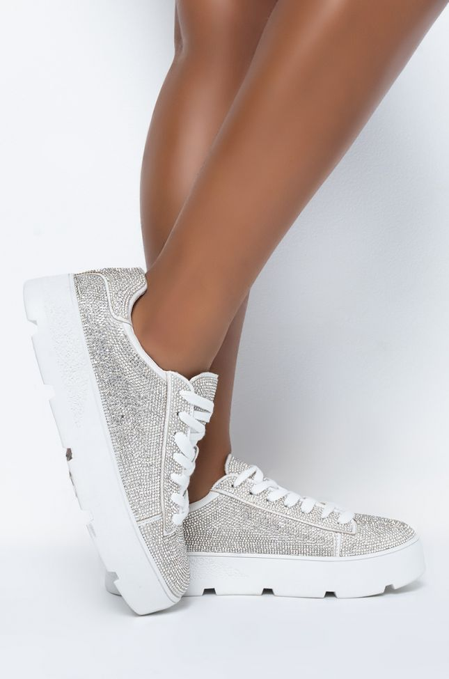 Side View All About Dat Shine Tennis Shoe in White
