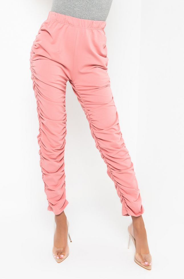 Front View All About Me Side Ruching Pants in Light Pink