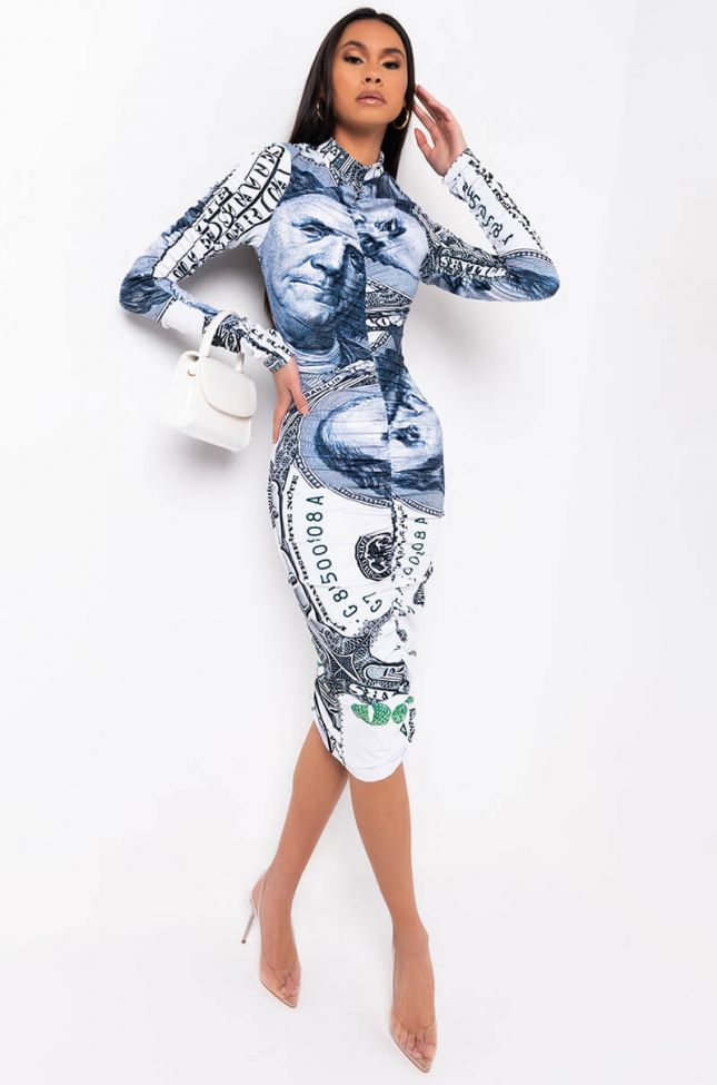 Full View All About The Benjamins Long Sleeve Ruched Midi Dress in White Multi