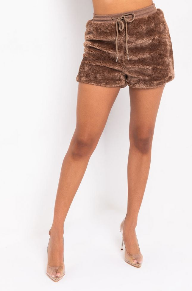 Front View All About The Weekend Soft Teddy Jogger Short in Brown