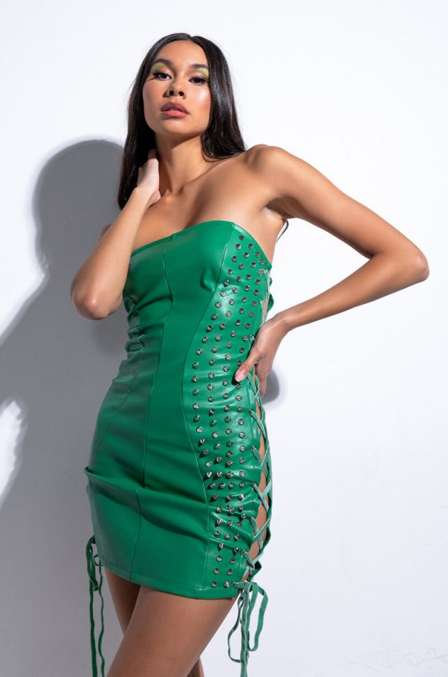 Front View All About This Mini Tube Faux Leather Dress