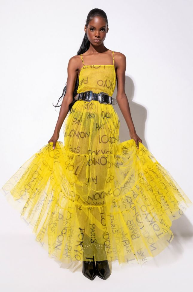 Front View All Around The World Maxi Tulle Dress