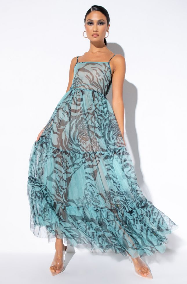 Front View All Around The World Maxi Tulle Dress in Mint