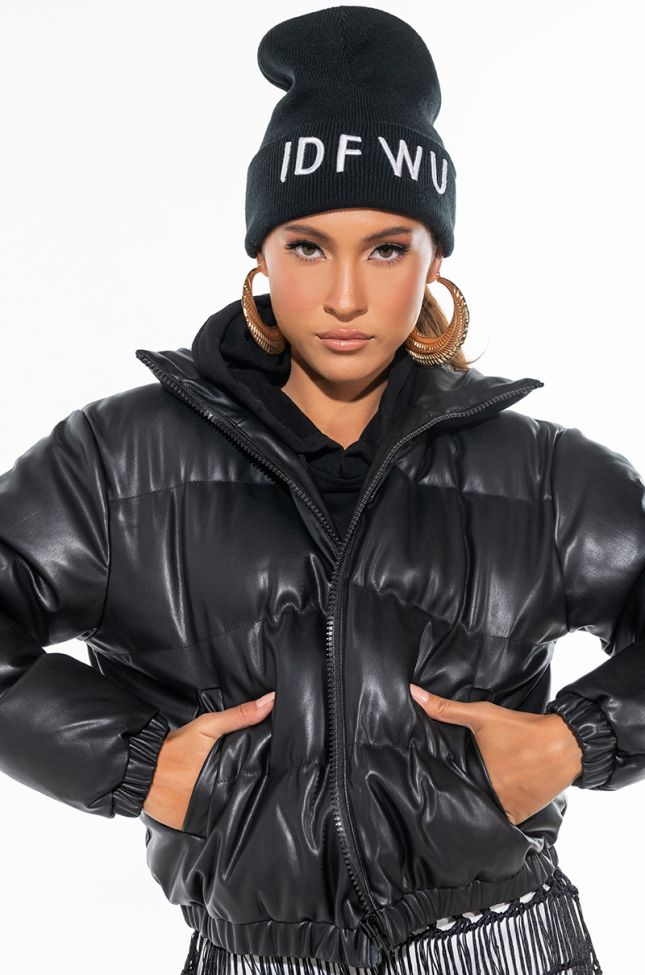 ALL BLACK PLEATHER PUFFER JACKET