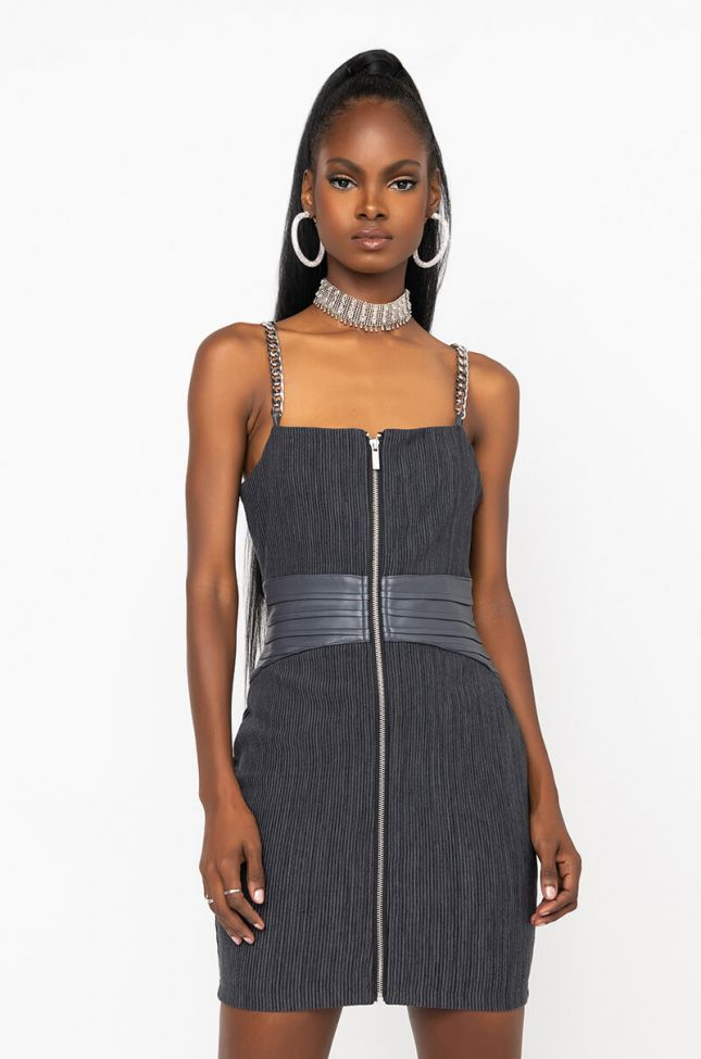 Front View All Chains Corset Detail Mini Dress in Heather Grey