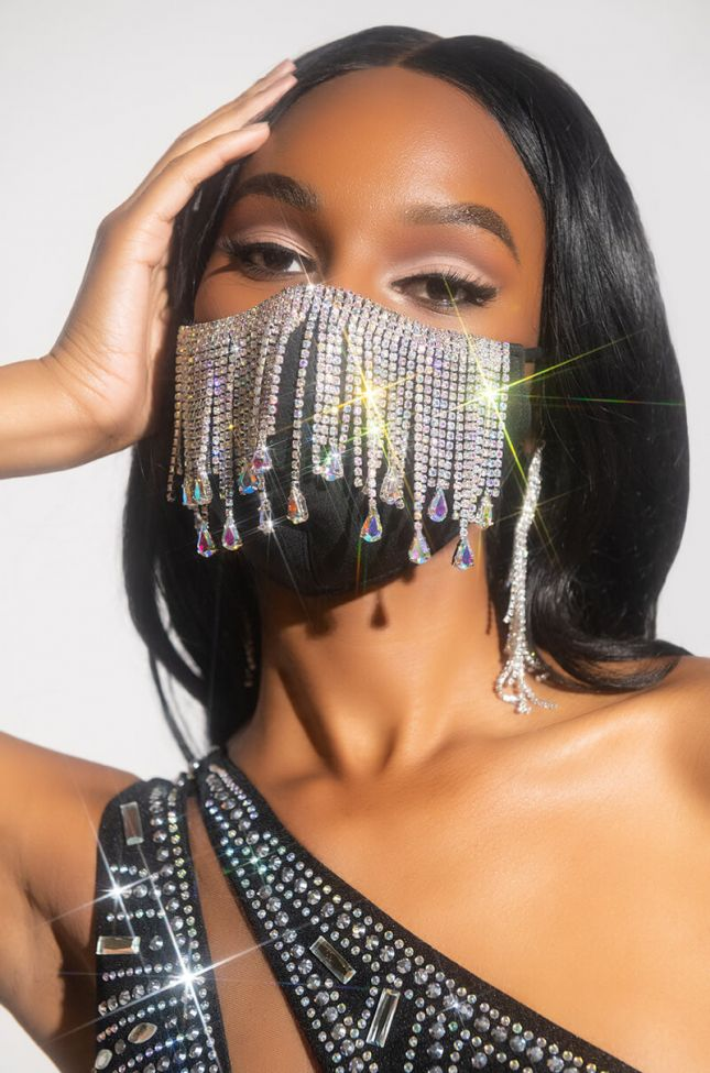 Front View All Da Tings Rhinestone Fringe Fashion Face Cover in Black Silver