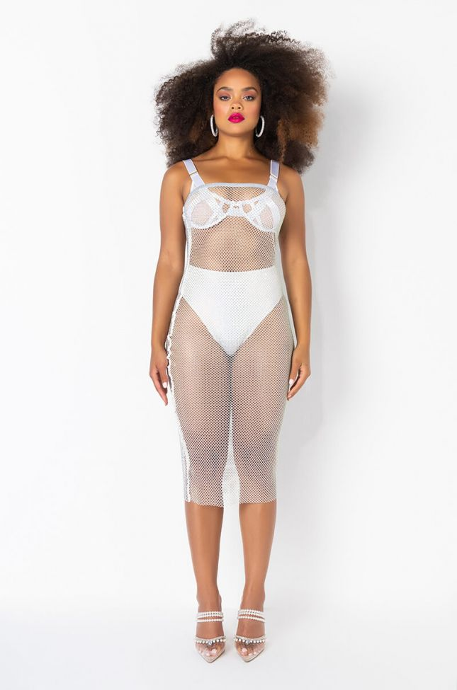 Front View All Day Baby Rhinestone Mesh Tube Dress in White