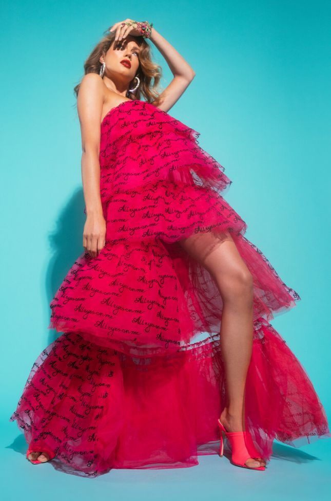 Front View All Eyes On Me High Low Tulle Dress in Pink Multi