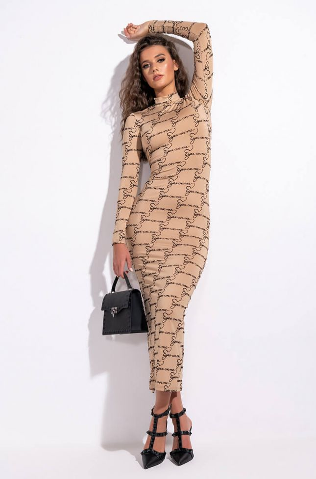 Front View All Eyes On Me Mock Neck Maxi Dress