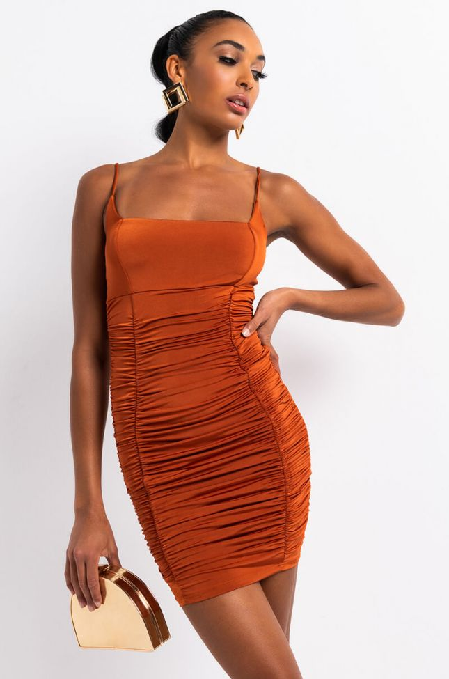 Front View All Eyes On You Ruched Mini Dress in Rust