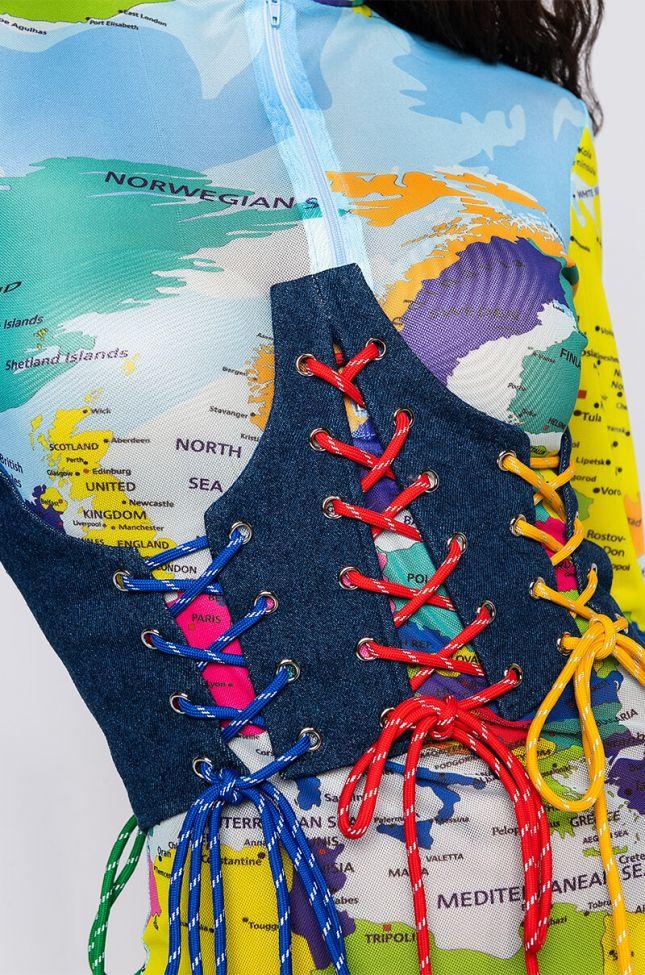 Detail View All Good Lace Up Denim Corset in Dark Blue Denim