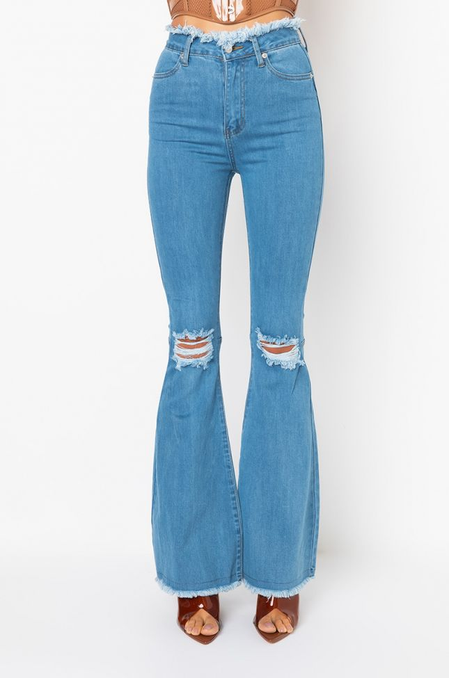 Front View All I Wanna Do High Rise Flare Jeans in Medium Blue Denim