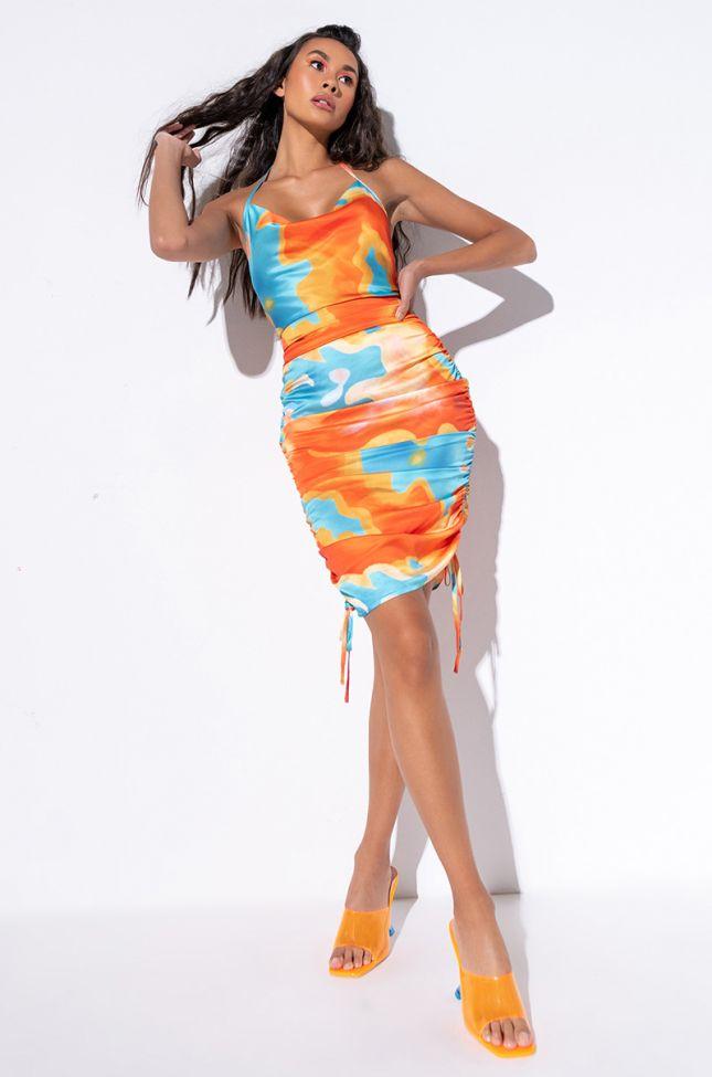 Full View All In My Bubble Midi Dress in Orange