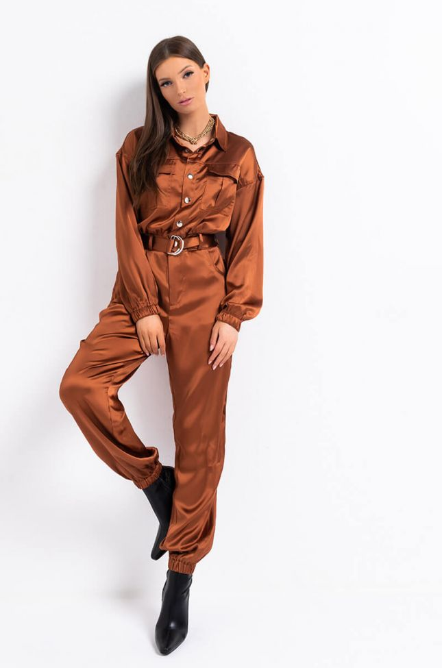 Front View All Ive Wanted Long Sleeve Jumpsuit in Rust