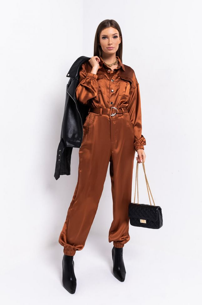 Side View All Ive Wanted Long Sleeve Jumpsuit in Rust