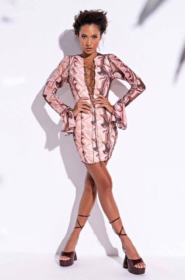All On Me Long Sleeve Mesh Mini Dress in Brown Multi