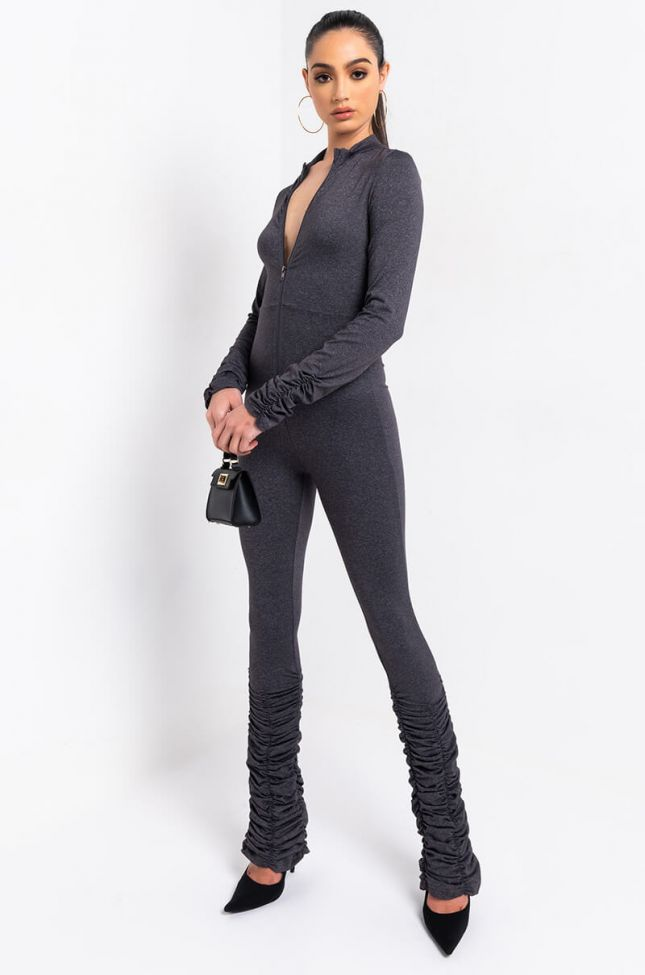 Side View All Stacked Up Jumpsuit in Heather Grey