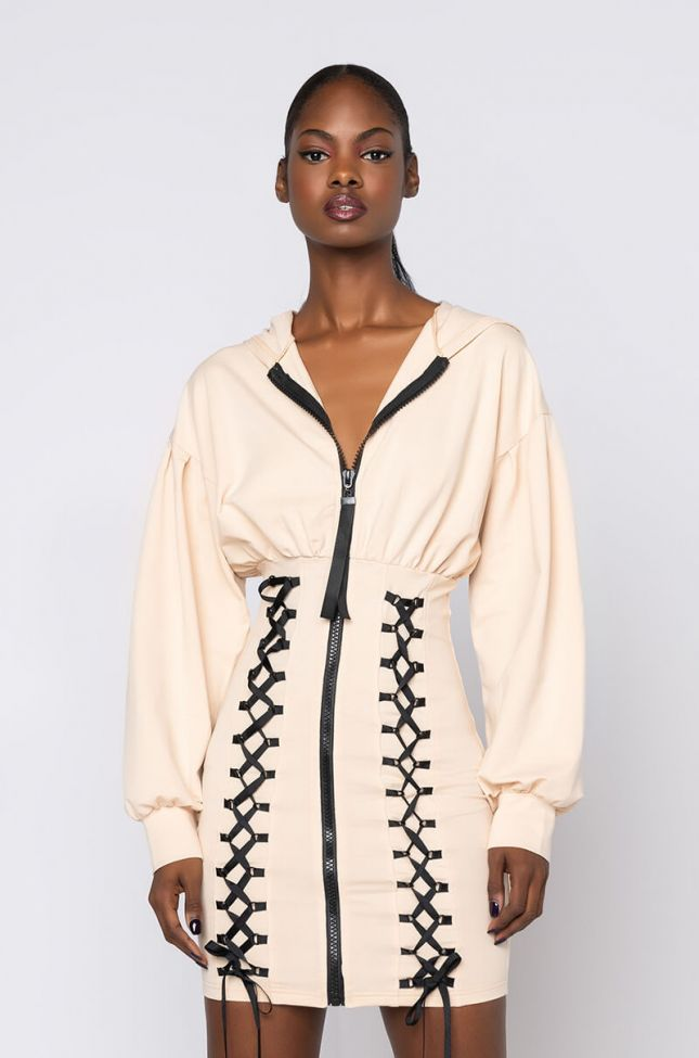 Front View All The Feels Long Sleeve Mini Dress With Zipper in Light Brown