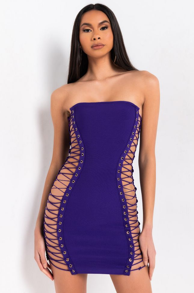 Front View All The Right Places Bandage Mini Dress in Black Purple