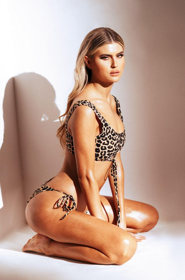 Front View All The Smiles String Bikini Bottom in Brown Leopard