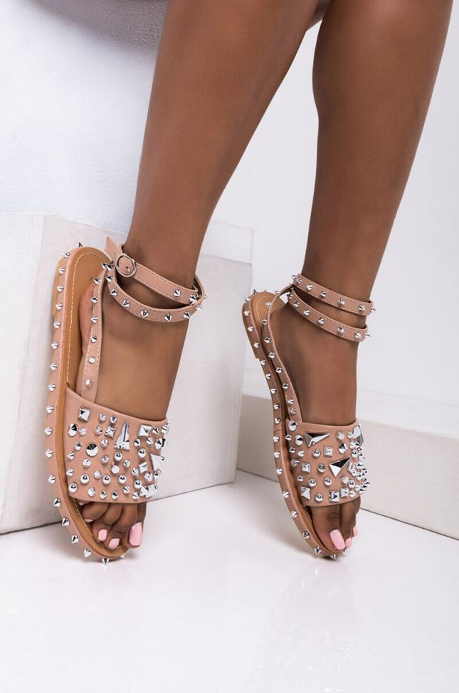 Front View All The Spikes Ankle Strap Sandal in Nude