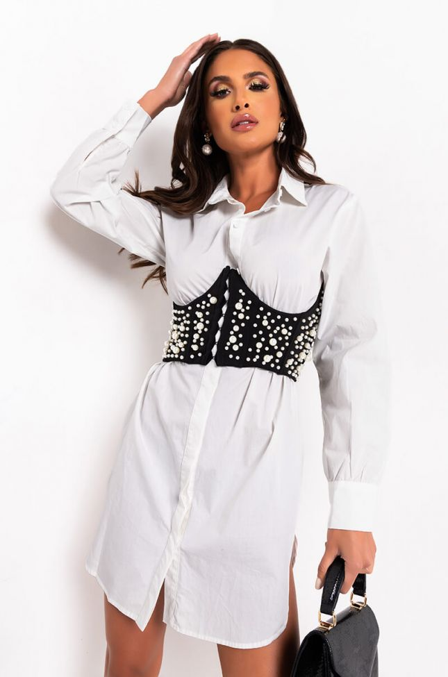 Front View All The Things Pearl Corset Shirt Dress in White Black