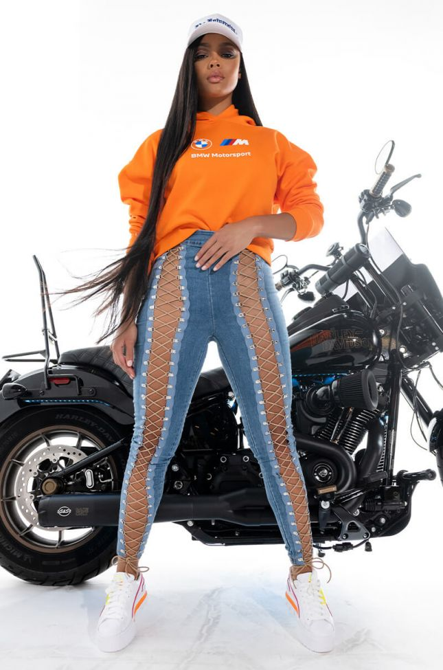 Extra View All The Way Up Laced Denim Trousers