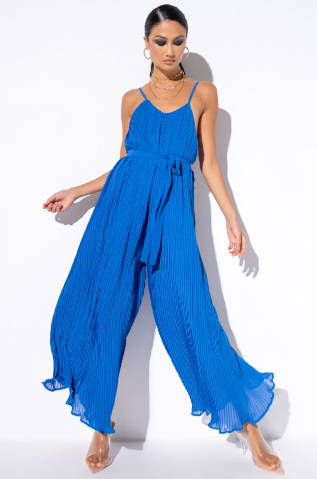 Front View All These Colors Wide Leg Jumpsuit in Blue