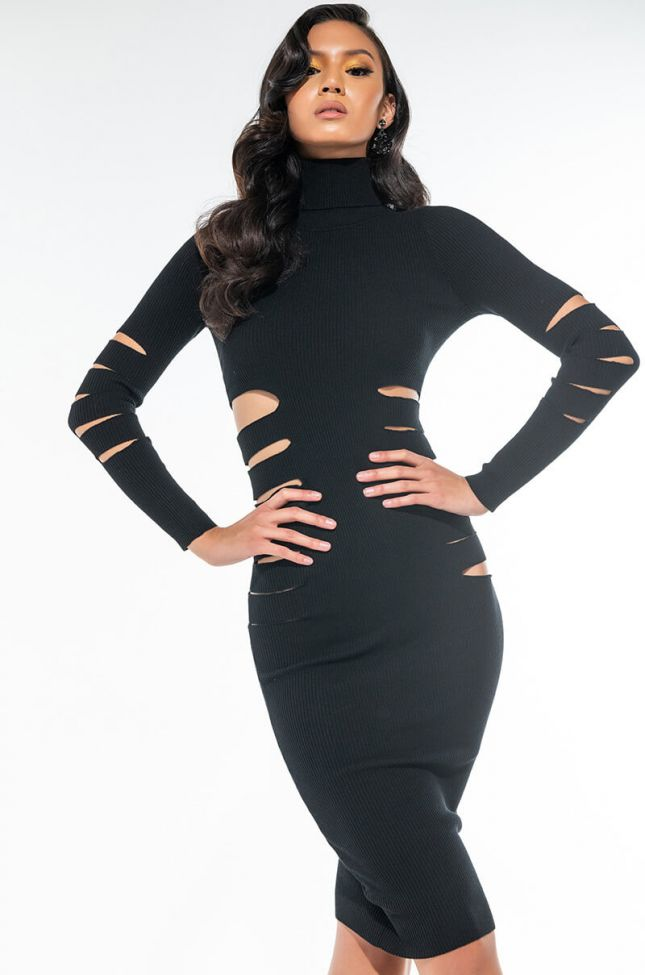 ALL THESE CUT OUT LONG SLEEVE MIDI DRESS
