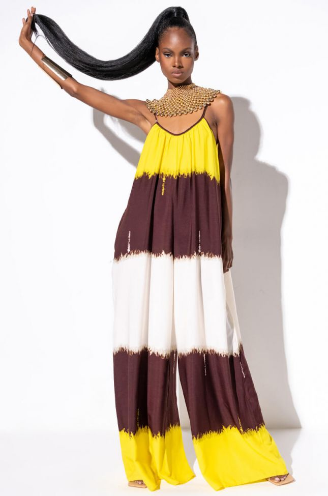 Front View All This Tie Dye Maxi Dress in Yellow