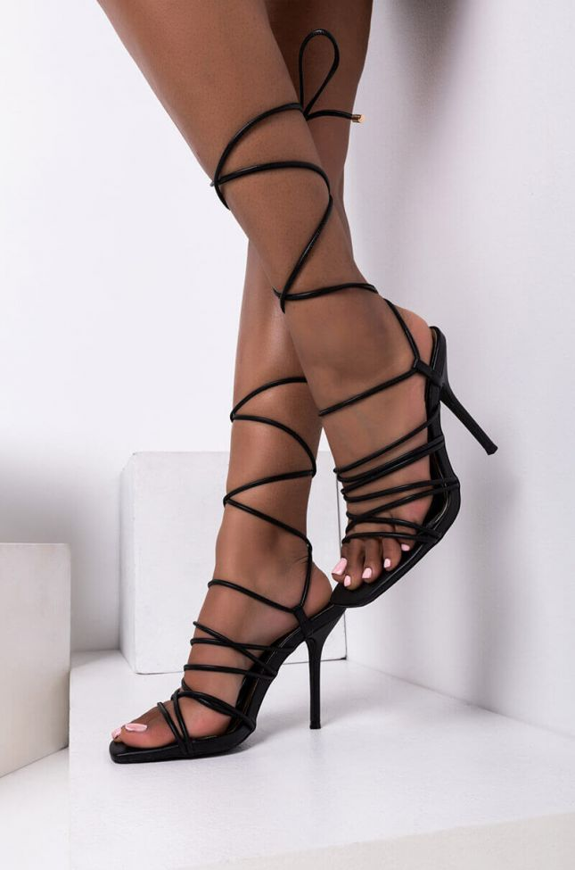 Front View All Through The Morning Stiletto Sandal in Black
