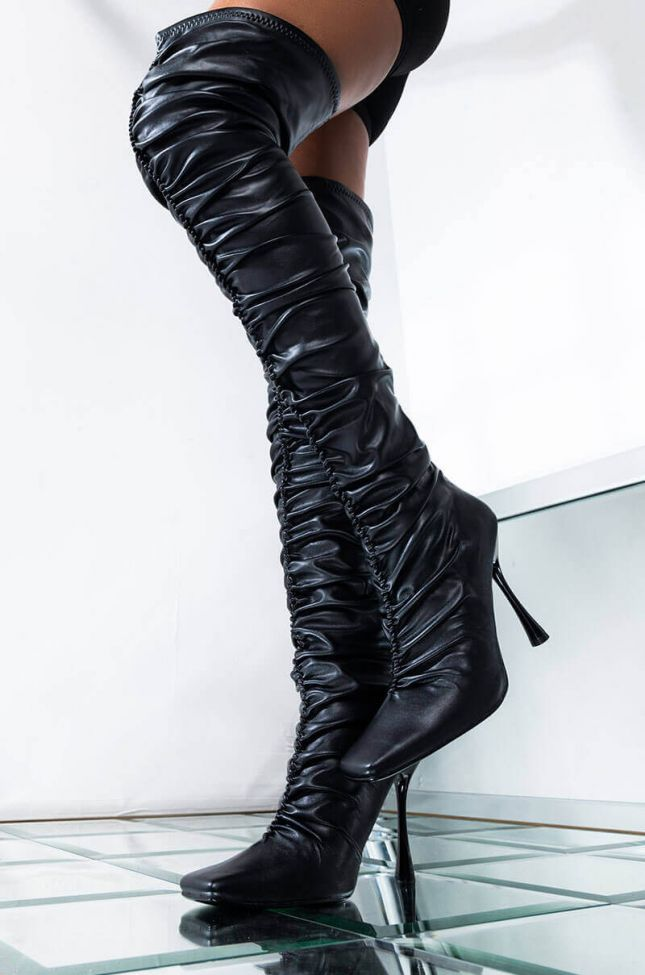 Front View All To Myself Stiletto Boot in Black