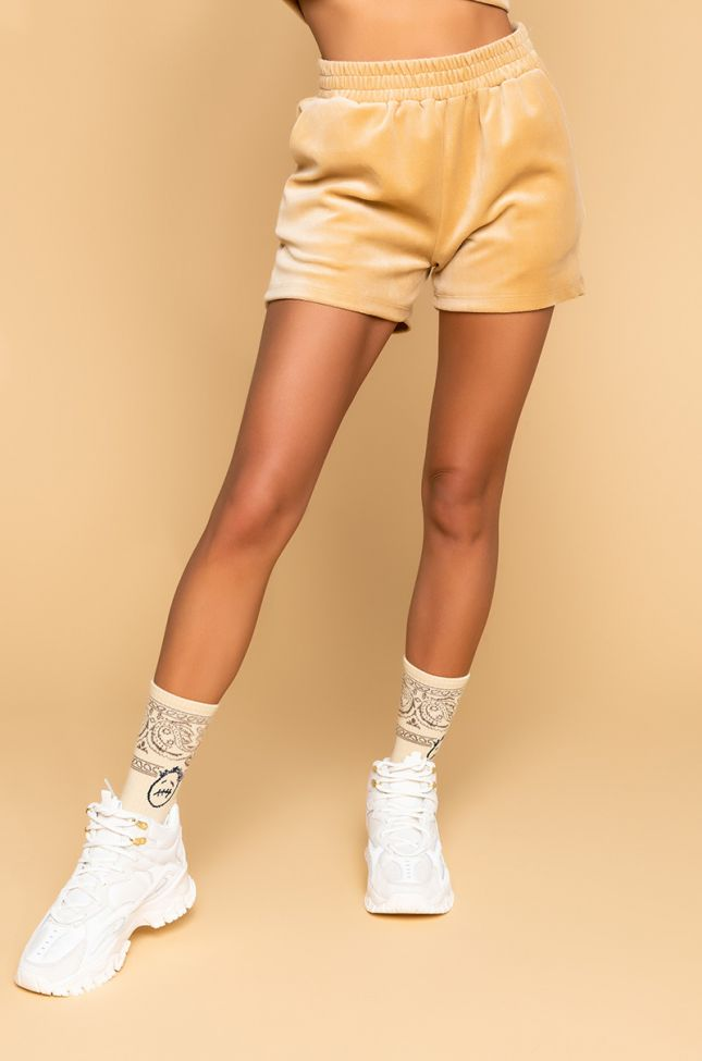Front View All Up In Your Feelings Shorts in Beige