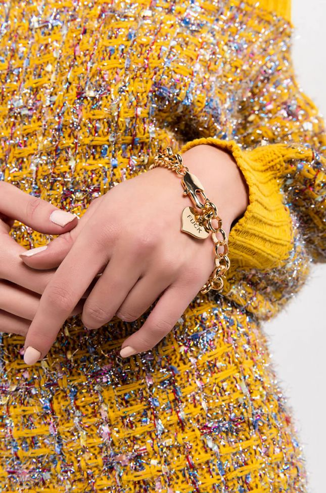 Front View All You Need Chain Bracelet in Gold