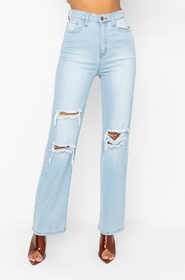 Front View Almost Over High Waist Relaxed Jeans in Light Blue Denim