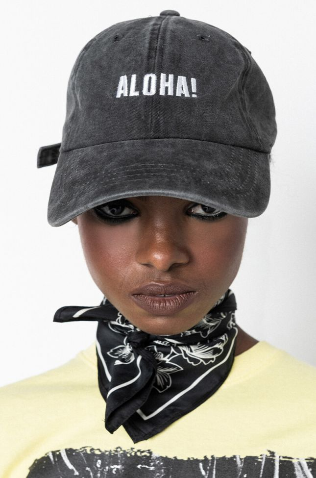 Front View Aloha Baseball Hat in Charcoal Grey
