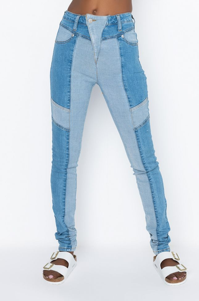 Front View Alpha High Waisted Skinny Jeans in Light Blue Denim