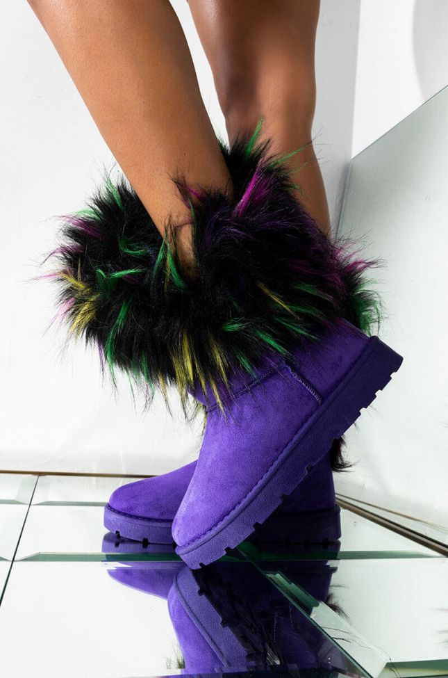 Front View Always Makin Moves Bootie in Purple
