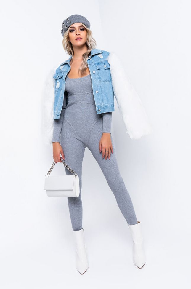 Side View Always On The Move Long Sleeve Casual Jumpsuit in Heather Grey